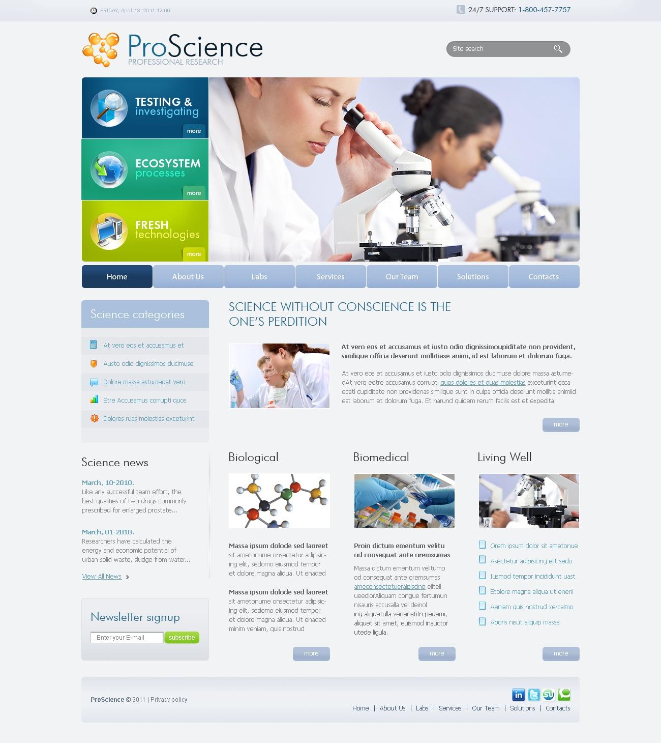 Template PSD #56482 per Un Sito di Scienza
