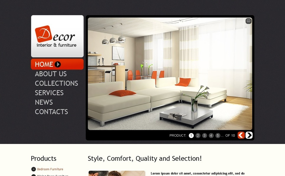 Plantilla PSD #56501 para Sitio de Interior y Muebles New Screenshots BIG