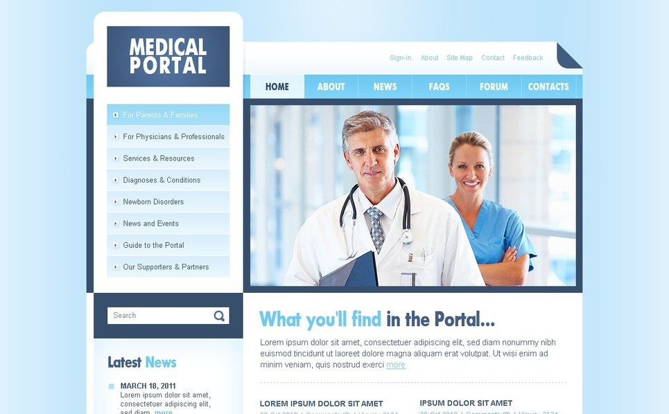 Template PSD  #56503 per Un Sito di Settore Medico New Screenshots BIG