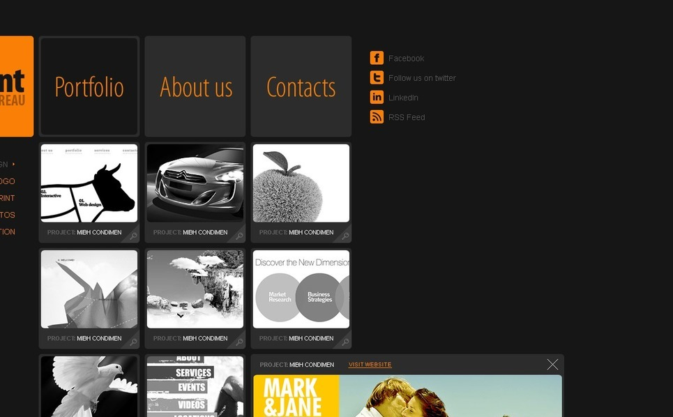 Szablon PSD #56507 na temat: studio projektowe New Screenshots BIG