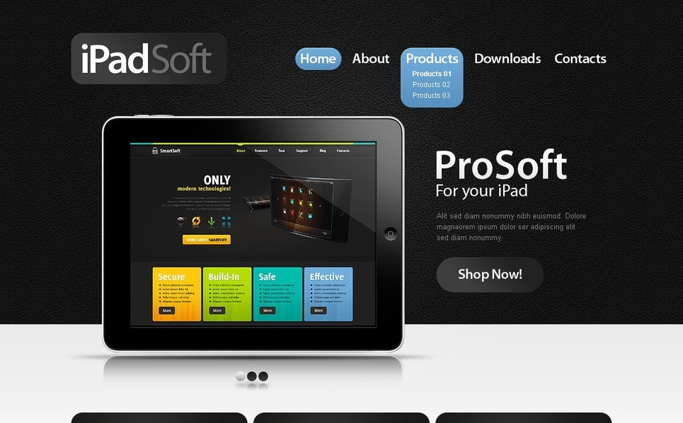 Szablon PSD #56545 na temat: sklep oprogramowania New Screenshots BIG
