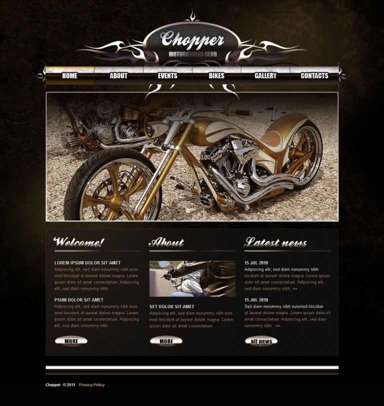 Biker Club PSD Template New Screenshots BIG