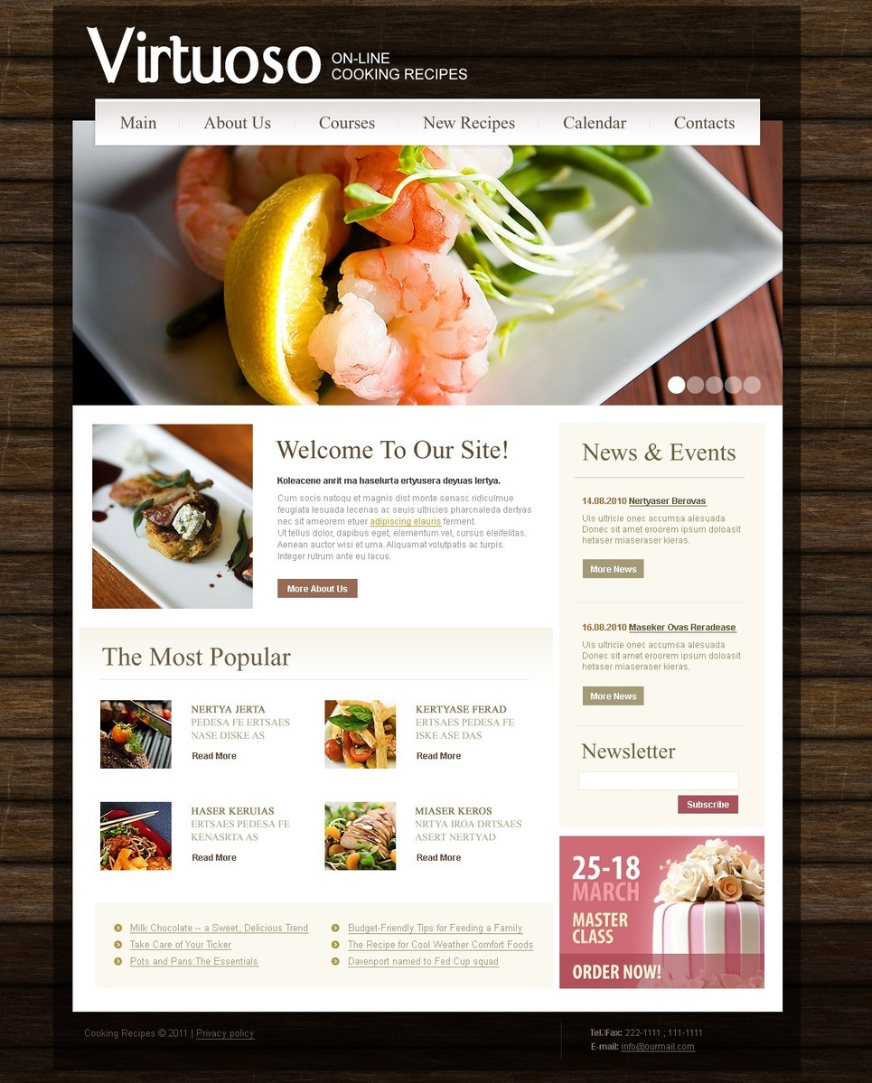 Cooking PSD Template New Screenshots BIG