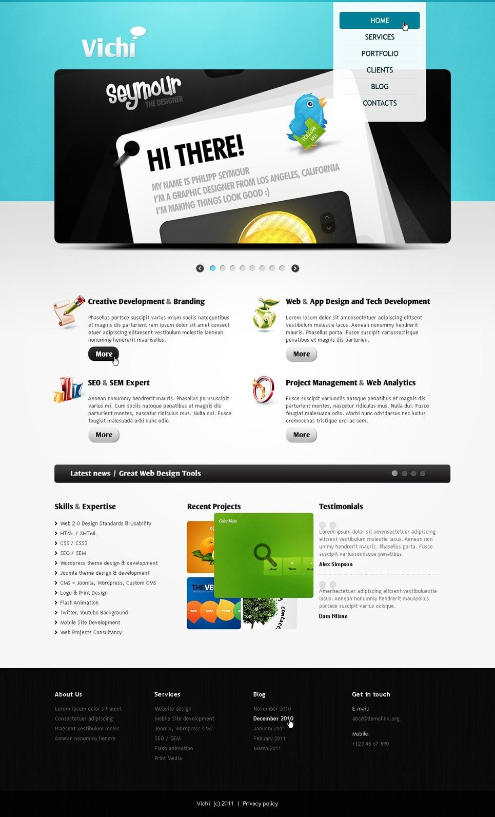 Designer Portfolio PSD Template #56562