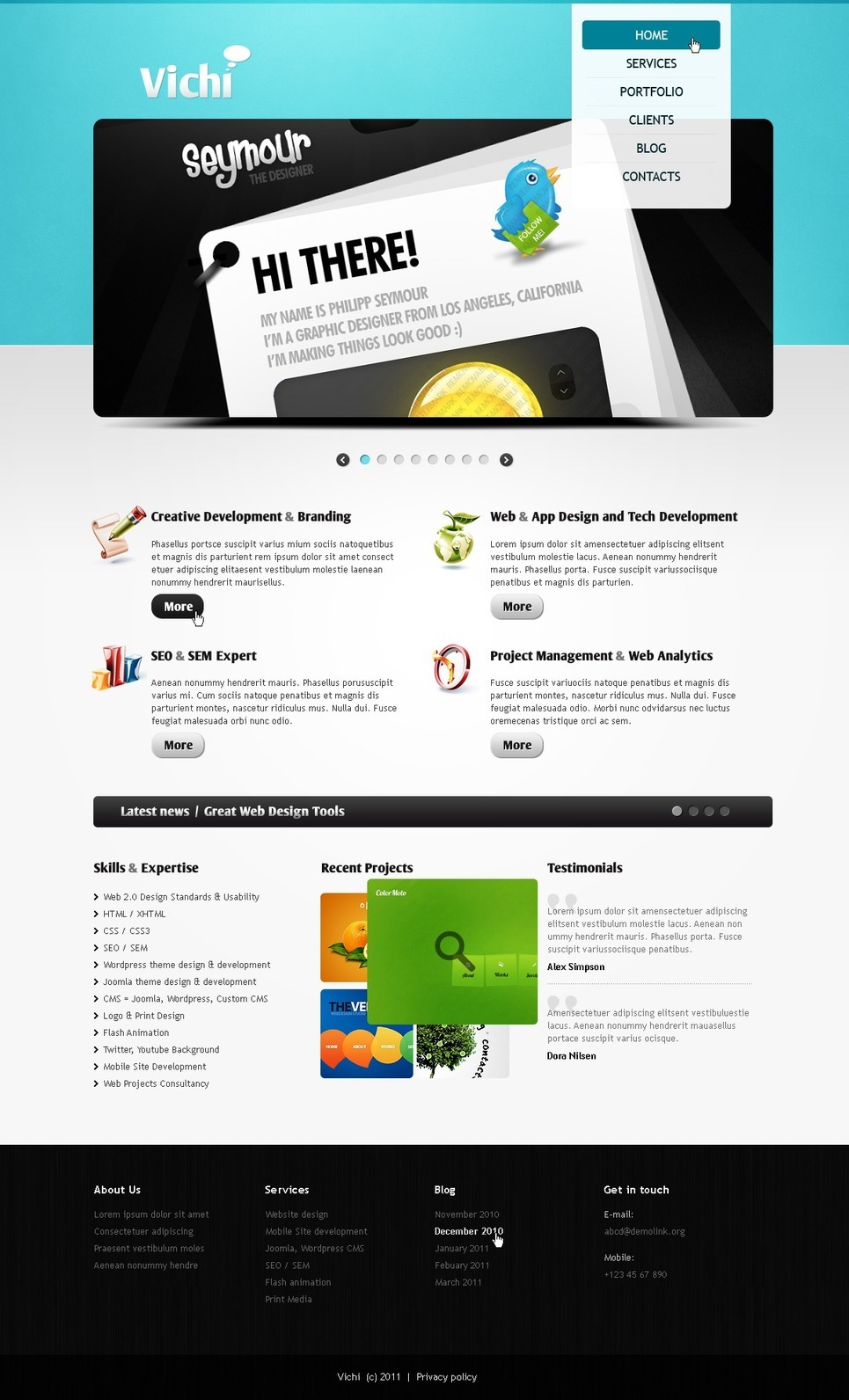 Designer Portfolio PSD Template New Screenshots BIG