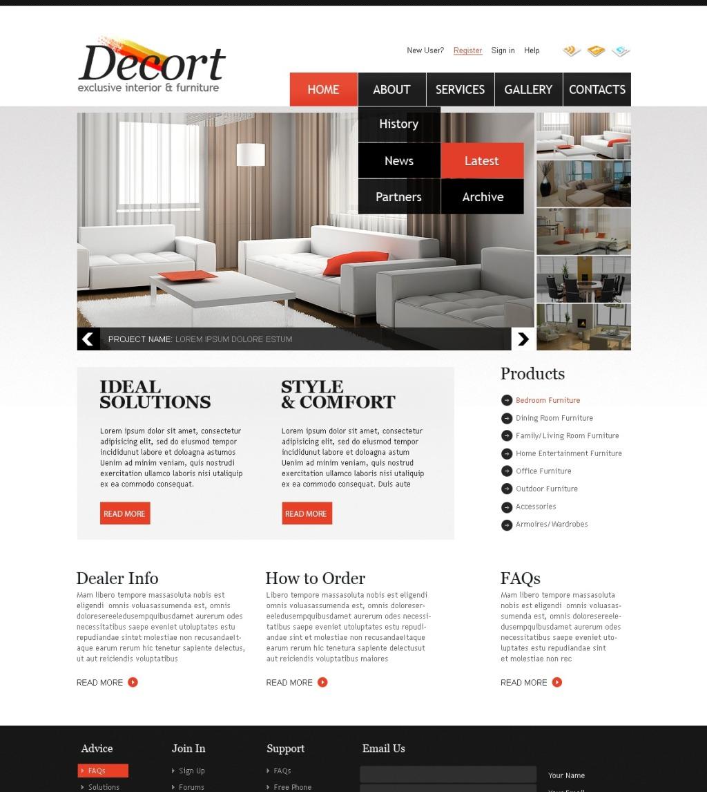 Tema psd 56510 per un sito di arredamento e design for Sito arredamento design