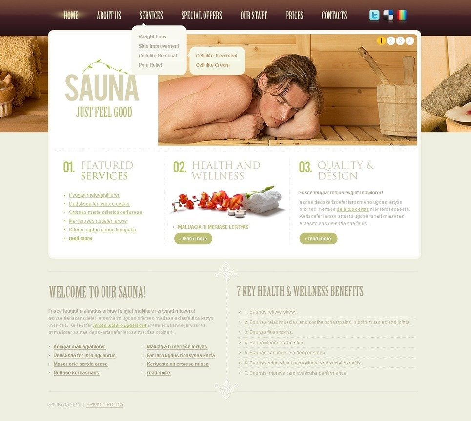 Sauna PSD Template New Screenshots BIG