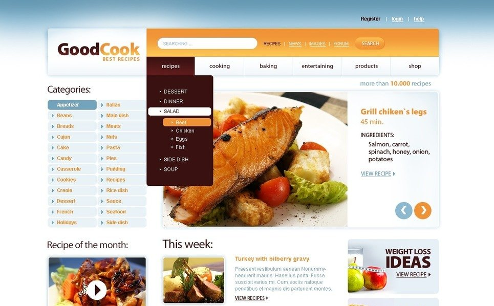 Template PSD  #56665 per Un Sito di Cucina New Screenshots BIG
