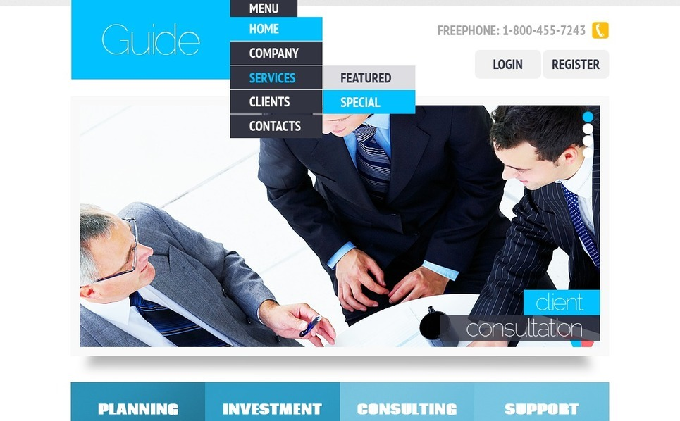 Plantilla PSD #56686 para Sitio de Consultoría New Screenshots BIG