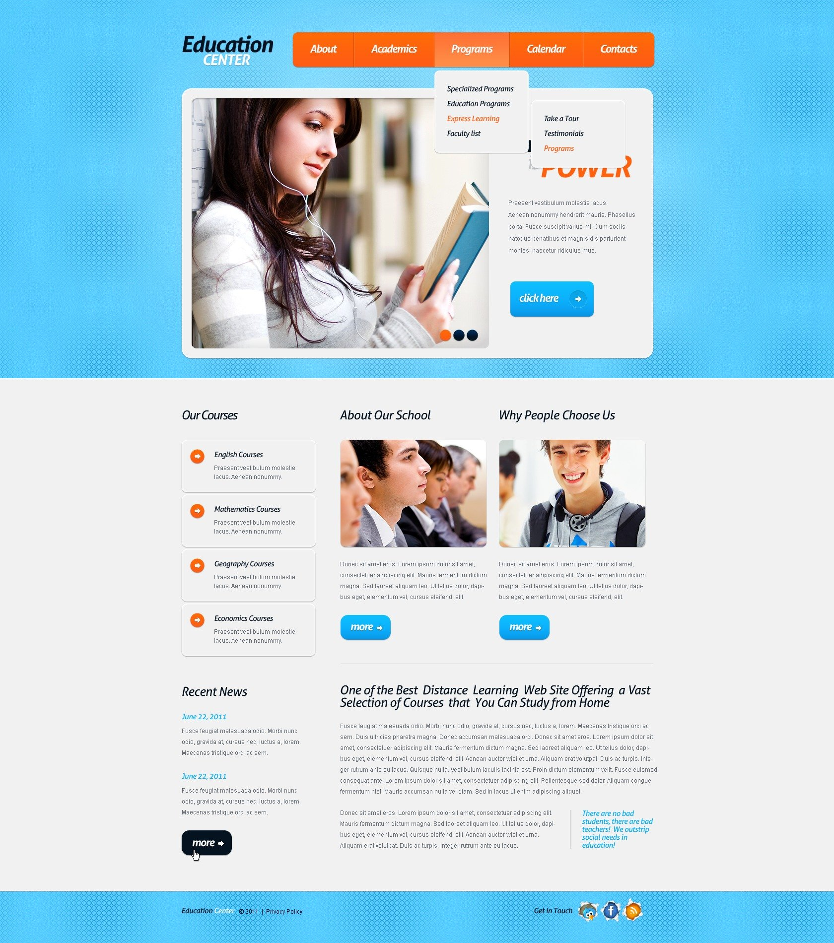 Education PSD Template - screenshot