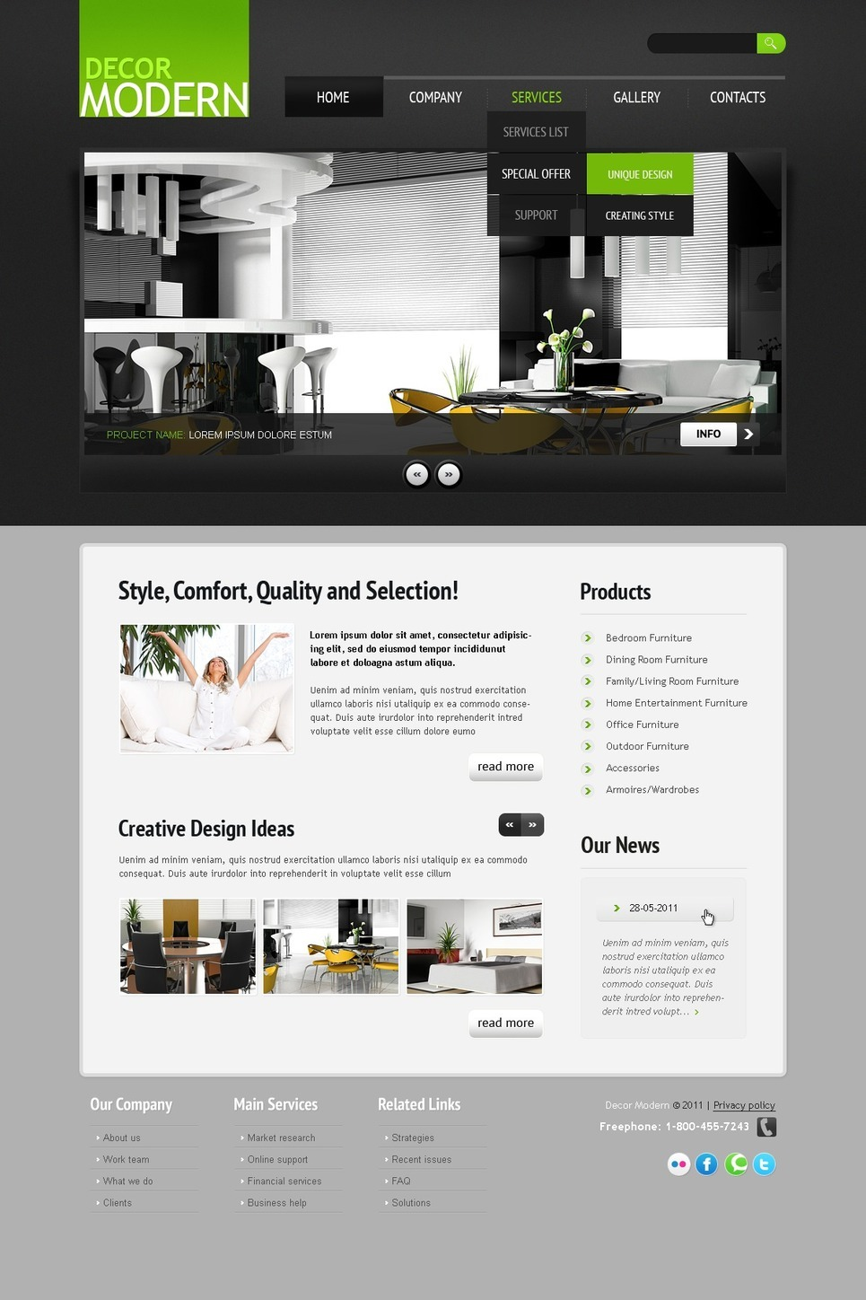 Home Decor PSD Template New Screenshots BIG