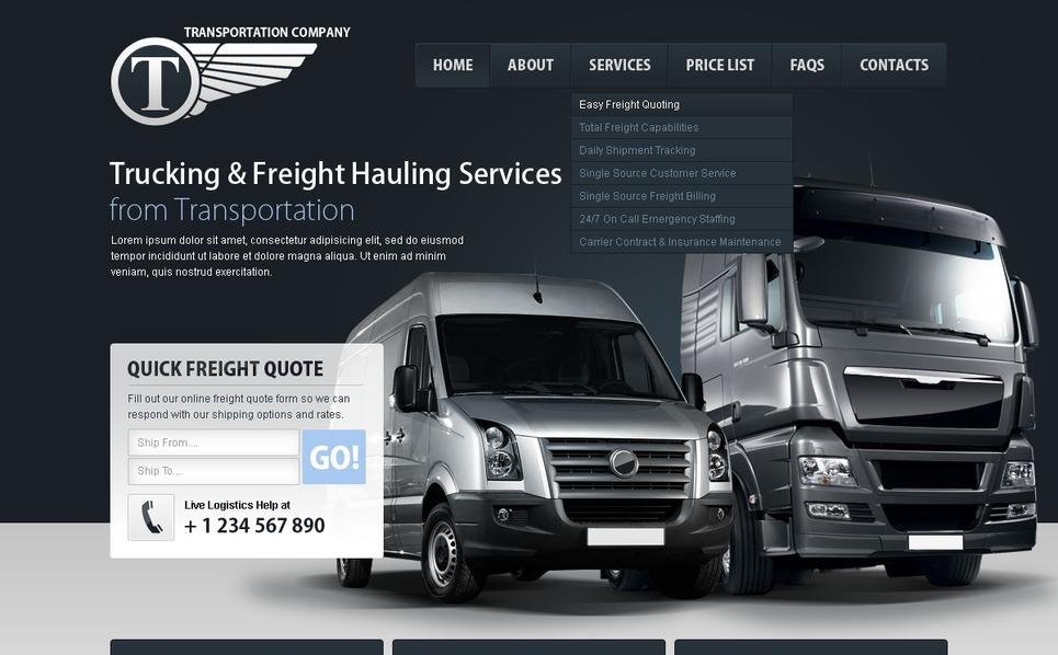 PSD шаблон на тему вантажоперевезення New Screenshots BIG