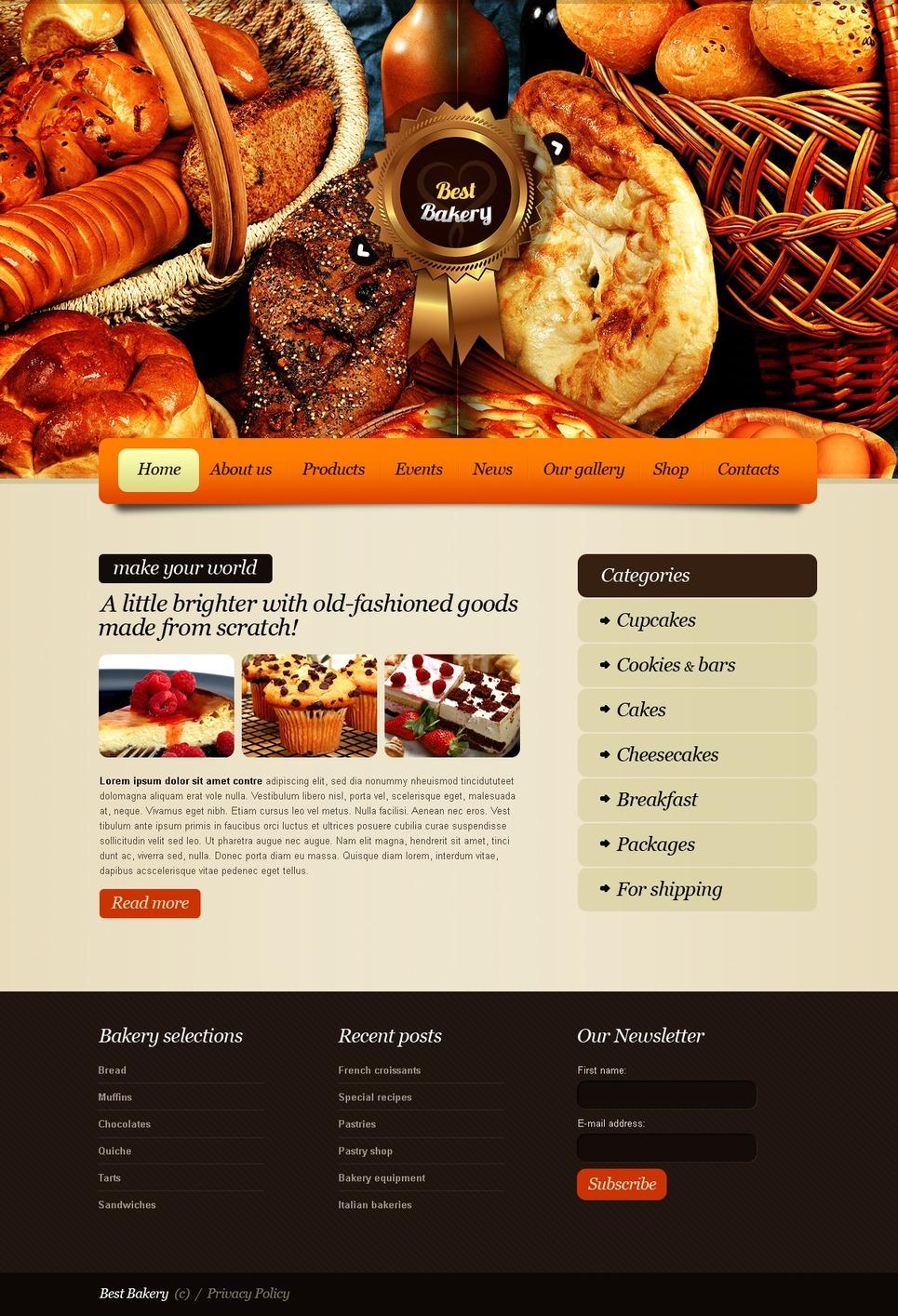Bakery PSD Template #56732