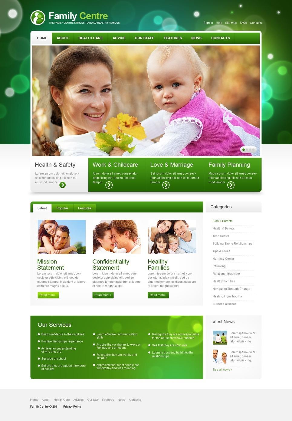 Family Center PSD Template New Screenshots BIG