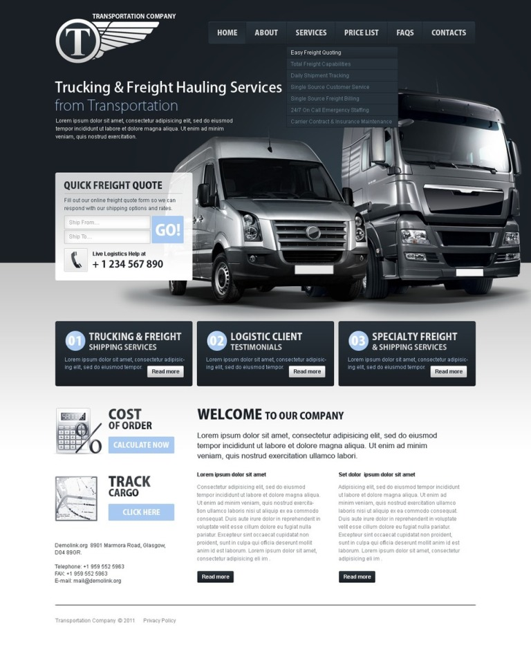 Trucking PSD Template New Screenshots BIG