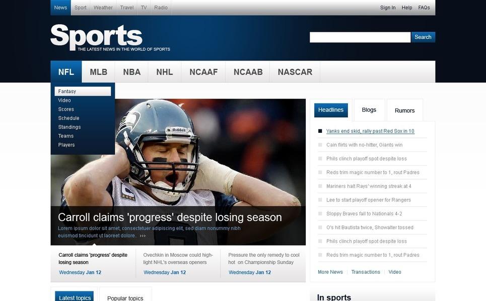 Sport hírek PSD sablon New Screenshots BIG