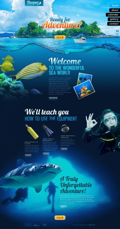 Diving PSD Template #56878