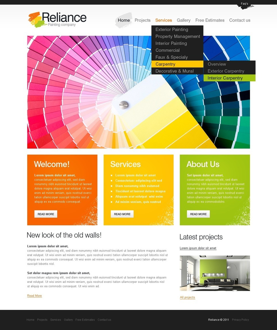 Painting Company PSD Template New Screenshots BIG