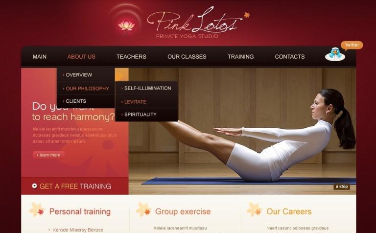 Plantilla PSD #56826 para Sitio de Yoga