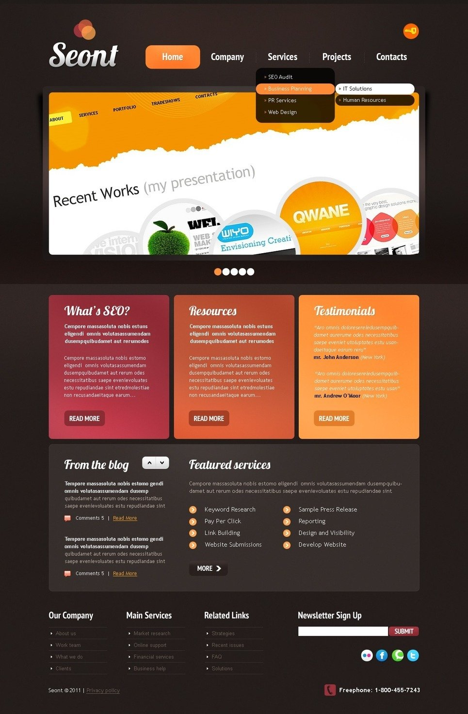 SEO Website PSD Template New Screenshots BIG