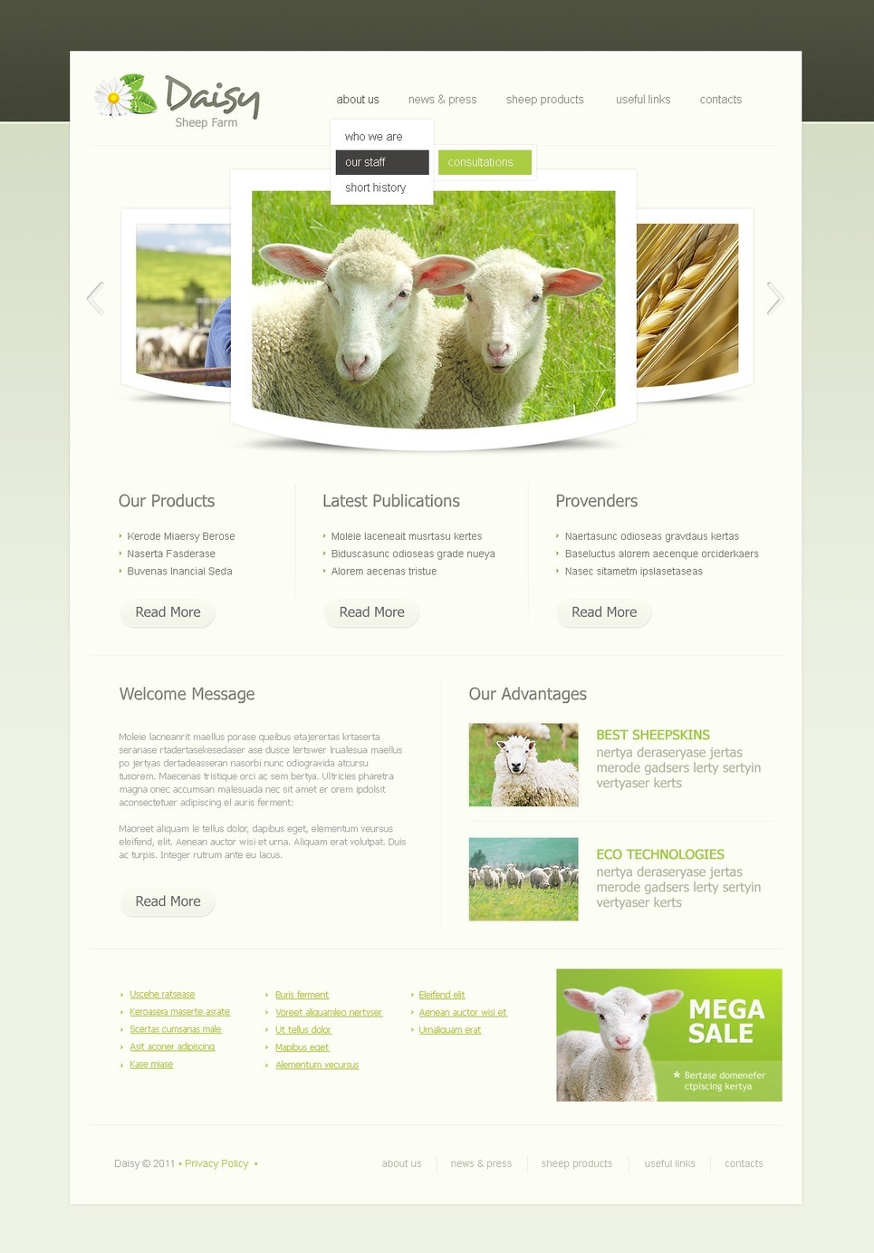 Sheep Farm PSD Template New Screenshots BIG