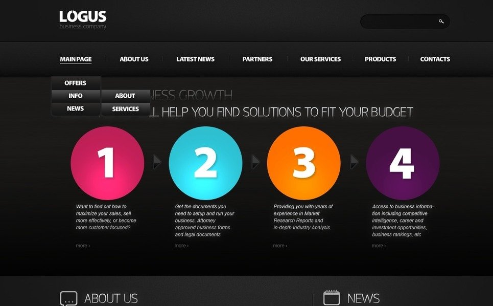 PSD шаблон №56923 на тему Бизнес и услуги New Screenshots BIG