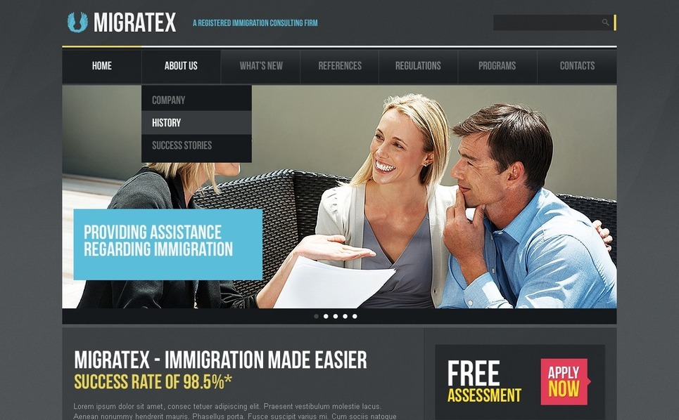 Modello PSD  #56987 per Un Sito di Consulenza Immigrazione New Screenshots BIG