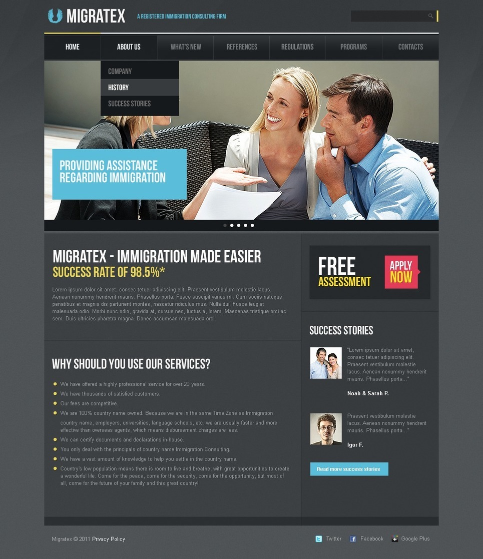 Immigration Consulting PSD Template New Screenshots BIG