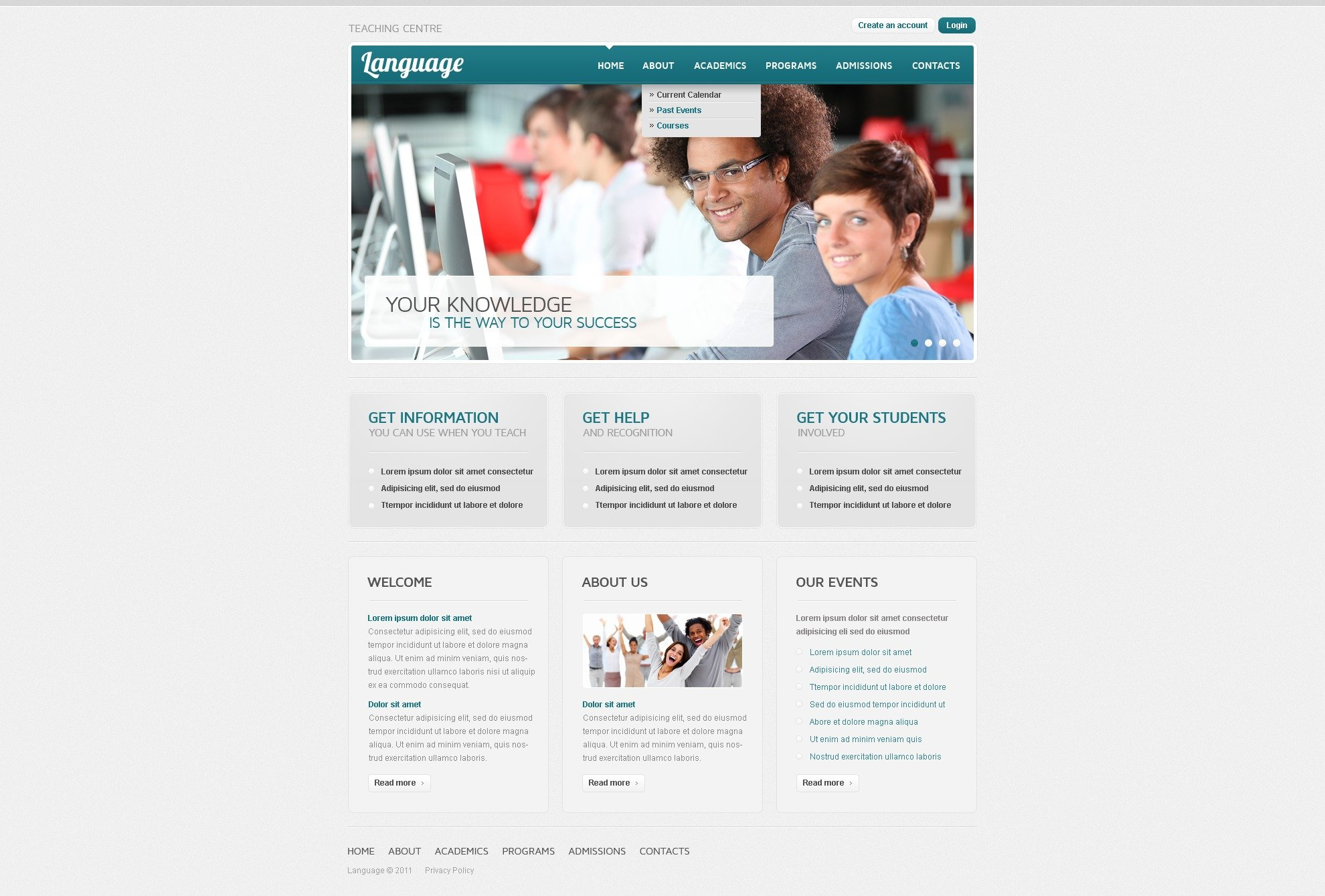 Language School PSD Template - screenshot