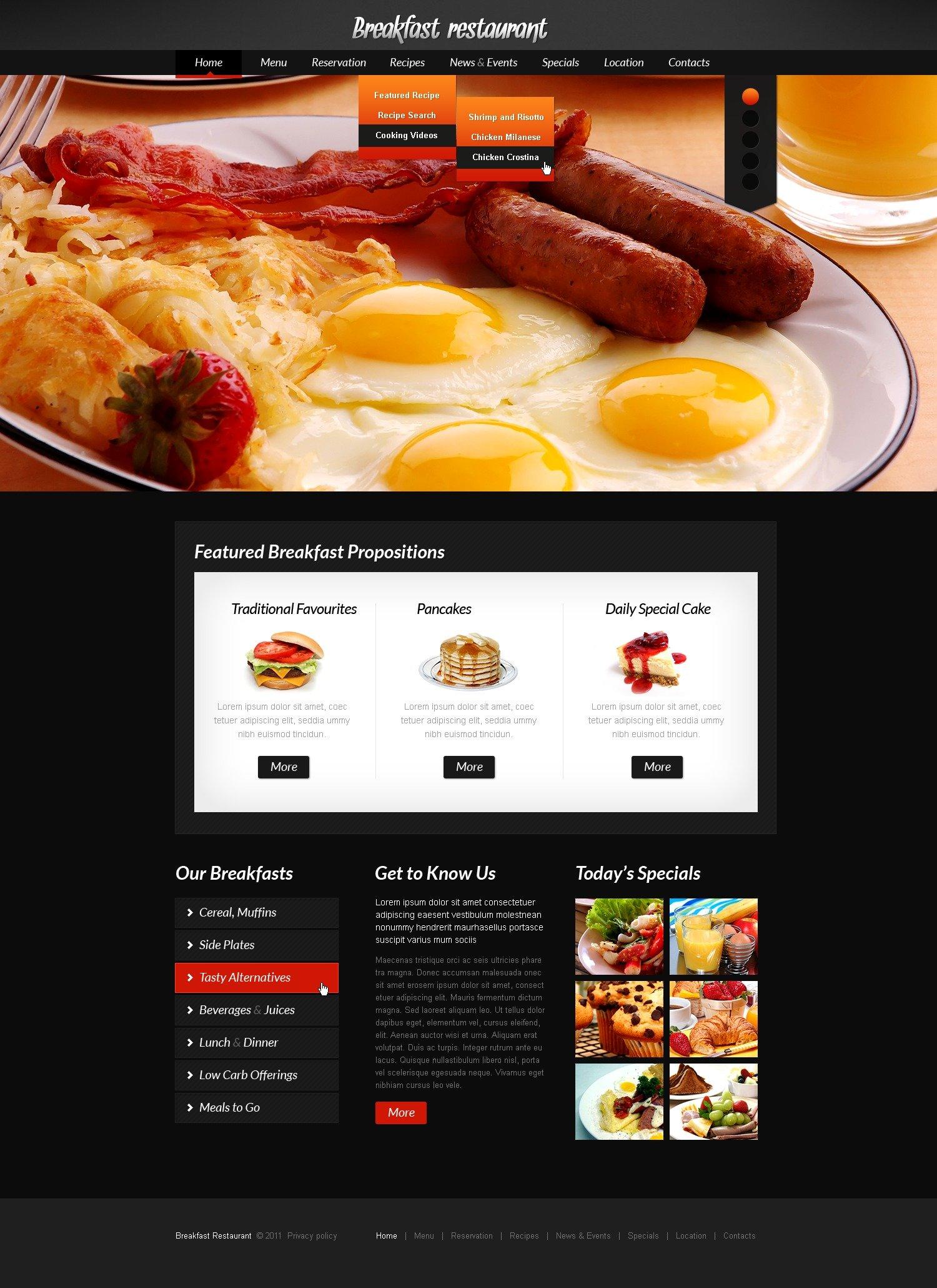 Plantilla PSD #56927 para Sitio de Cafeterías y Restaurantes - captura de pantalla