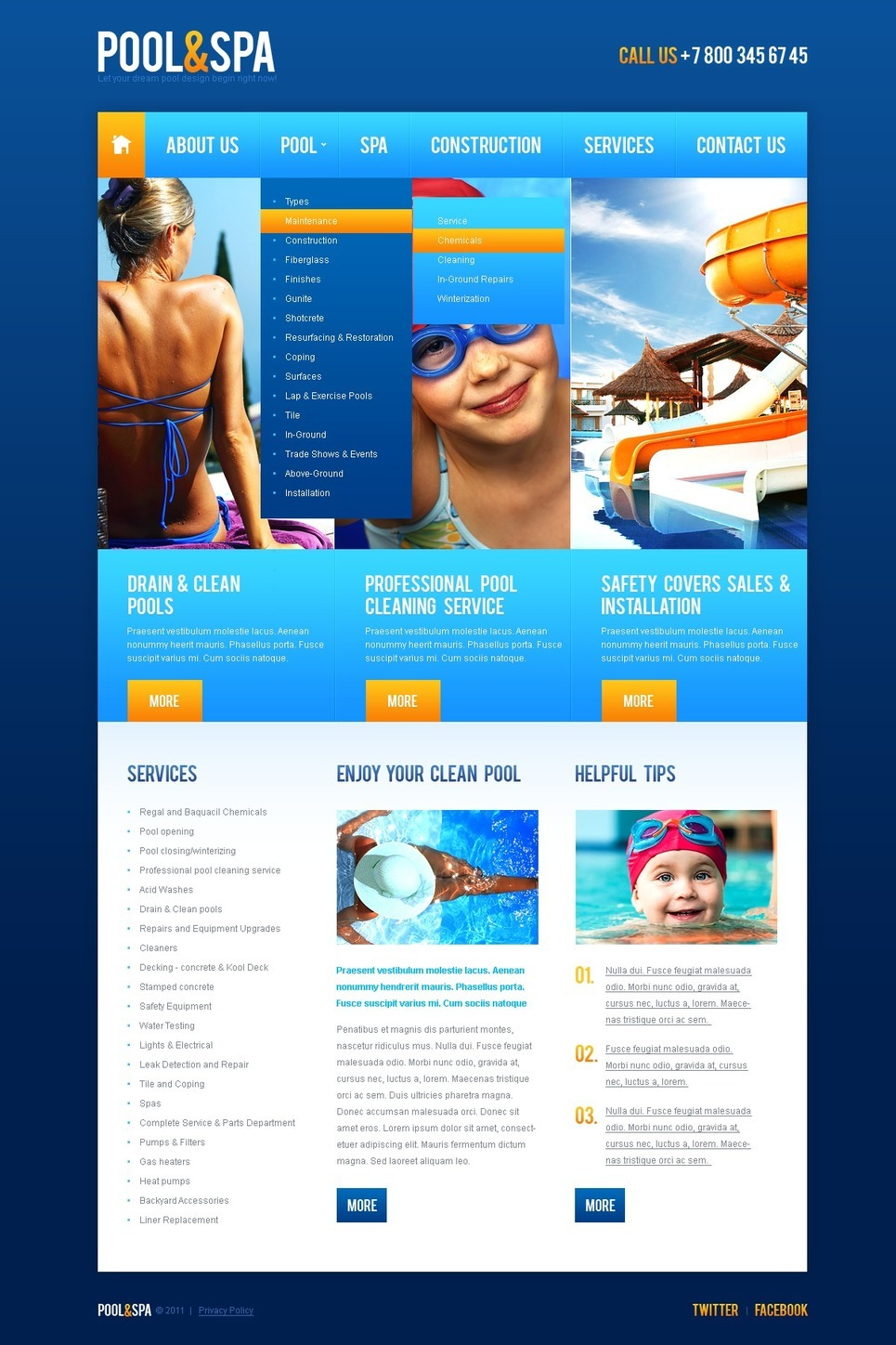 Swimming PSD Template New Screenshots BIG
