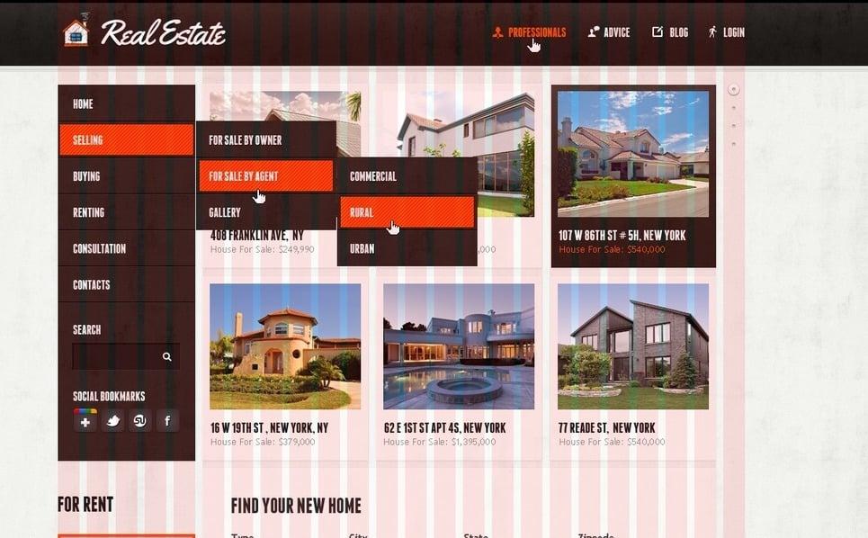 Plantilla PSD #57012 para Sitio de Inmuebles New Screenshots BIG
