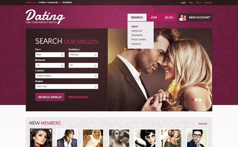 PSD Template over Dating  New Screenshots BIG