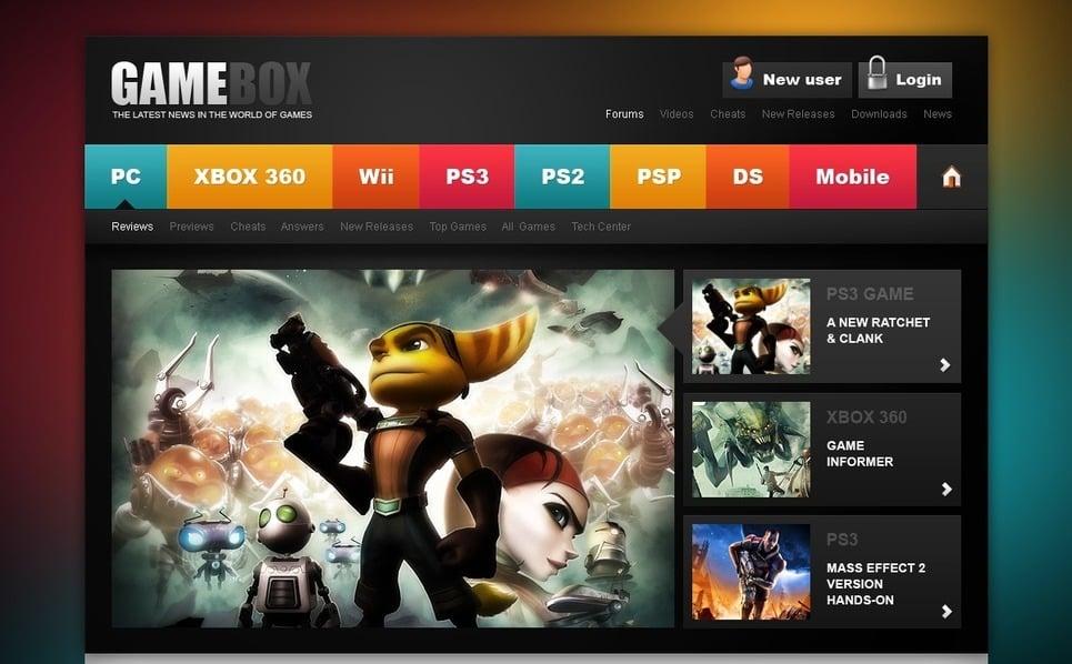 Szablon PSD #57046 na temat: portal gier New Screenshots BIG