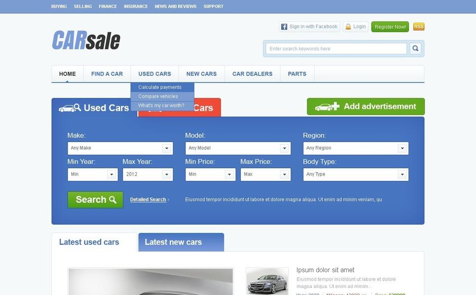 Szablon PSD #57047 na temat: samochody New Screenshots BIG