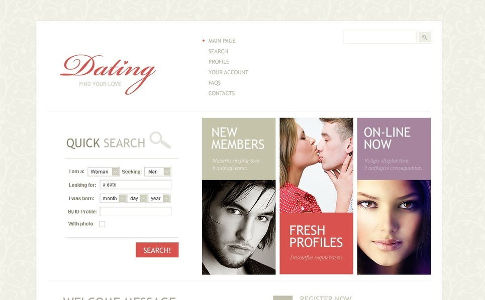 Szablon PSD #57057 na temat: randki New Screenshots BIG
