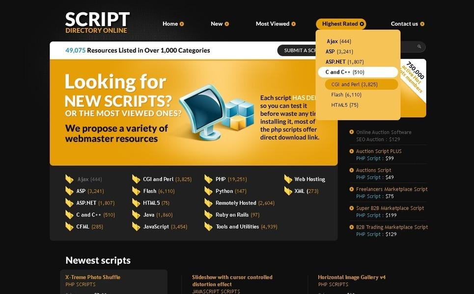 PSD шаблон №57082 на тему Шаблон сайтов программного обеспечения New Screenshots BIG