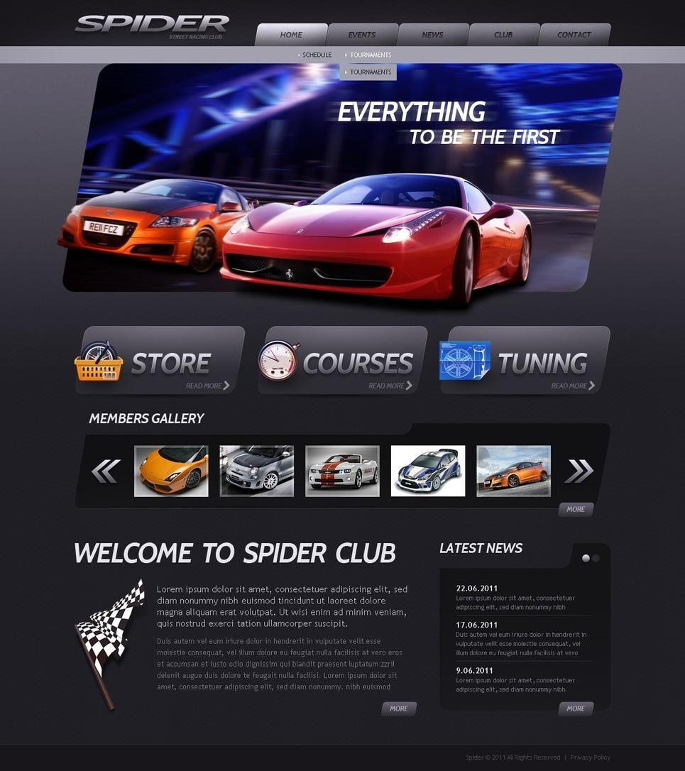 Car Club PSD Template New Screenshots BIG