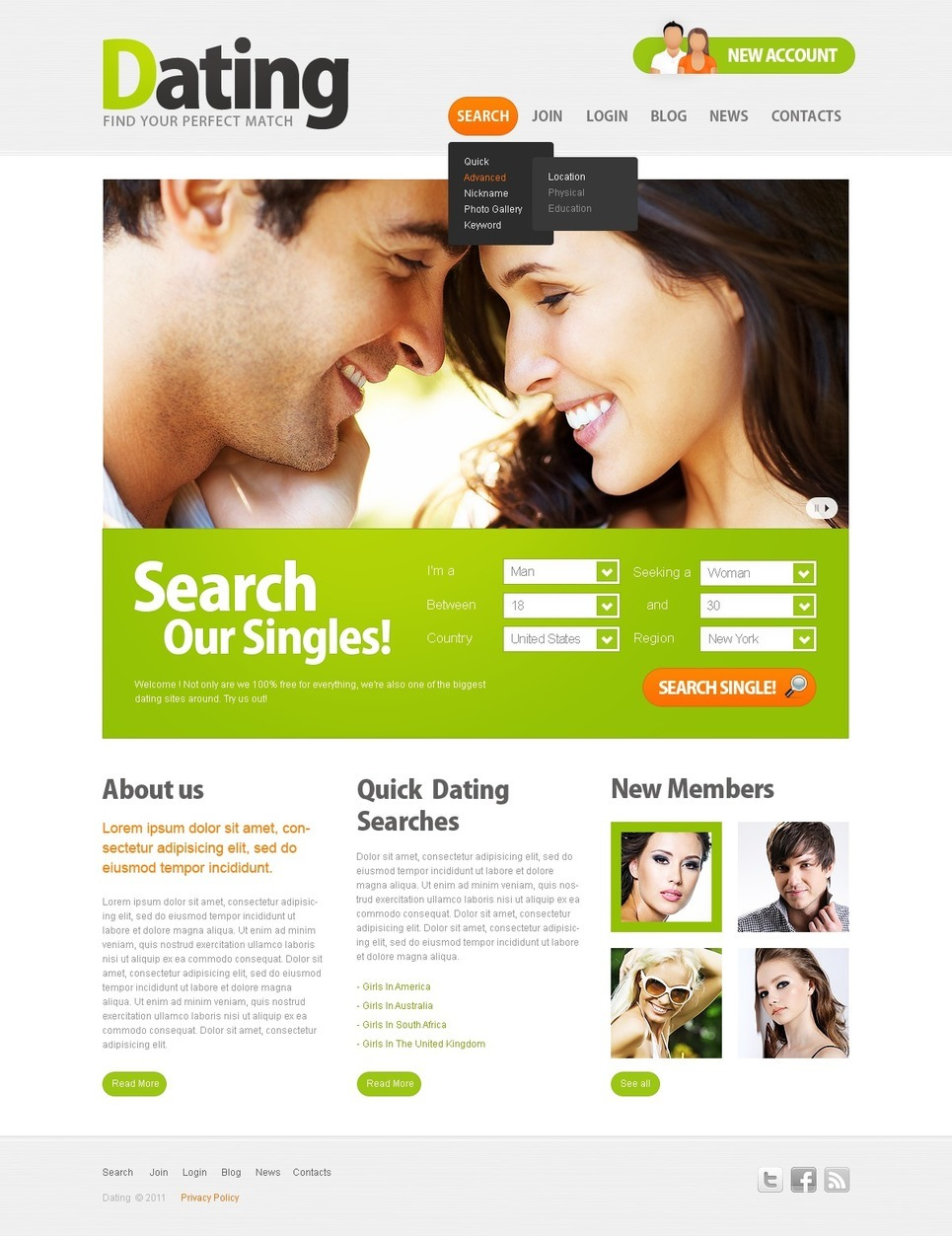 Dating PSD Template New Screenshots BIG