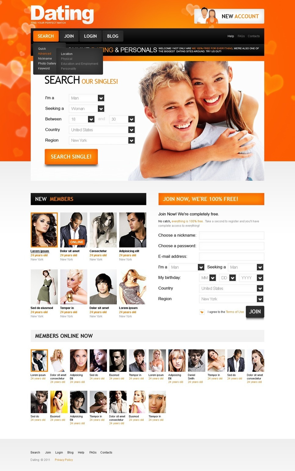 Dating PSD Template New Screenshots BIG