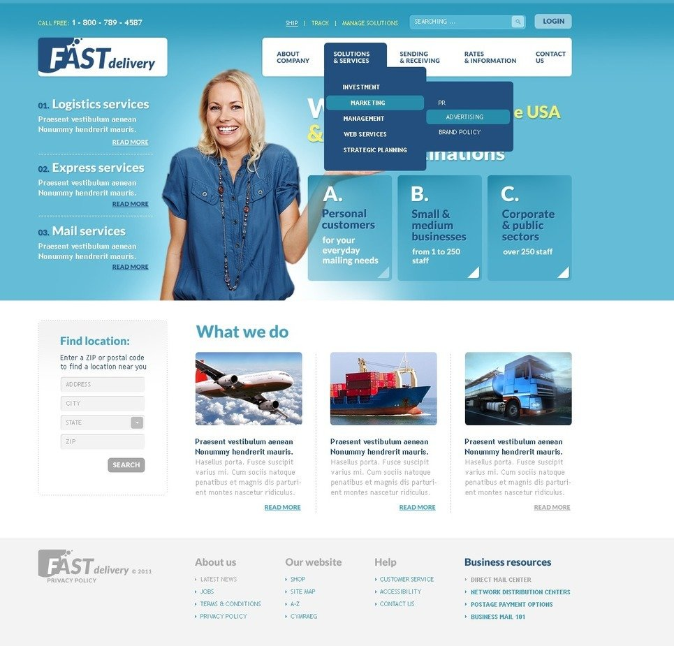 Delivery Services PSD Template New Screenshots BIG