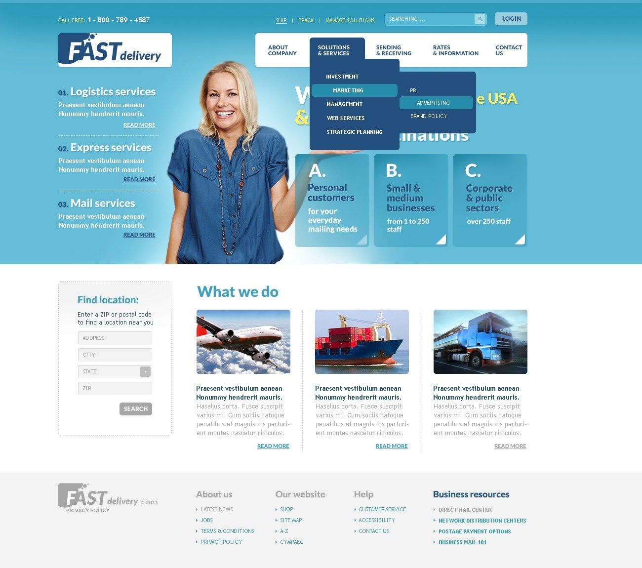Delivery Services PSD Template