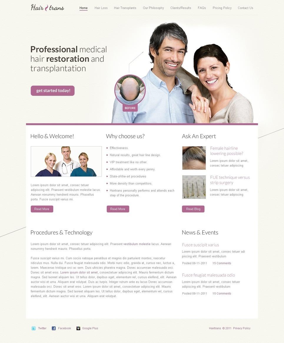 Hair Clinic PSD Template New Screenshots BIG