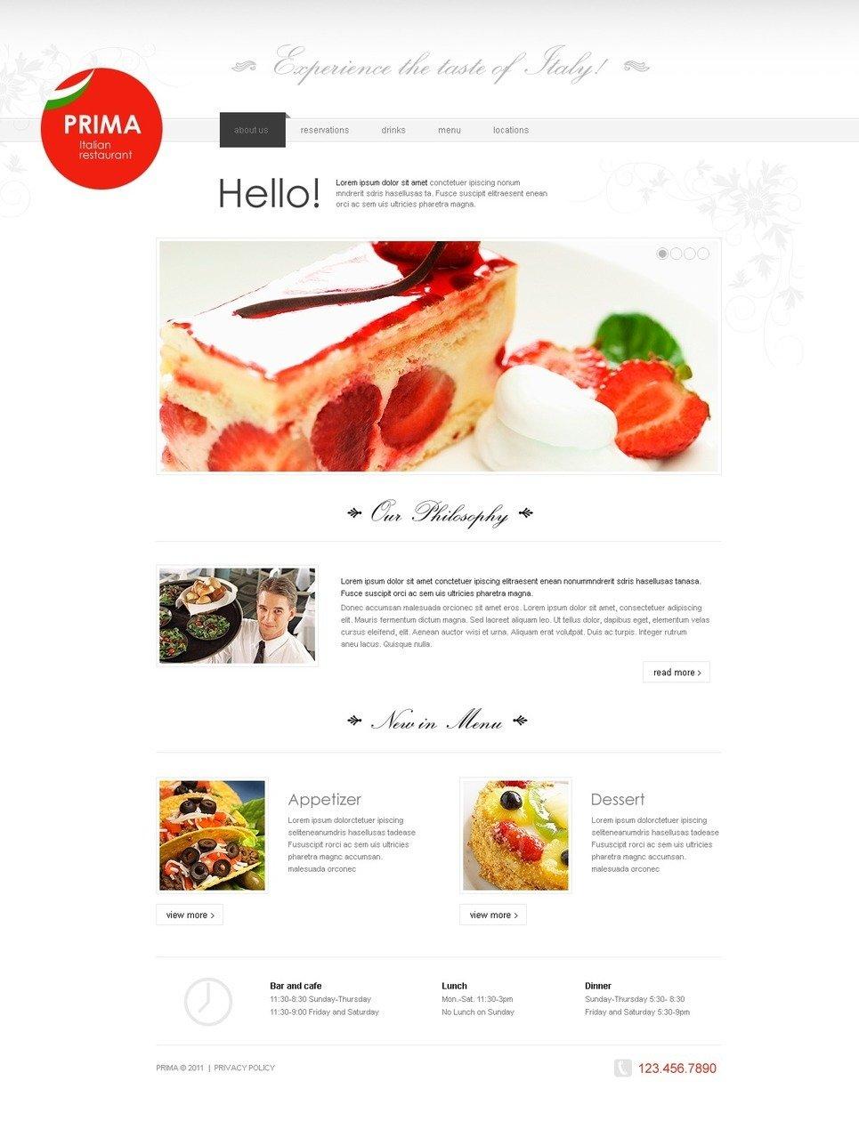 Italian Restaurant PSD Template New Screenshots BIG