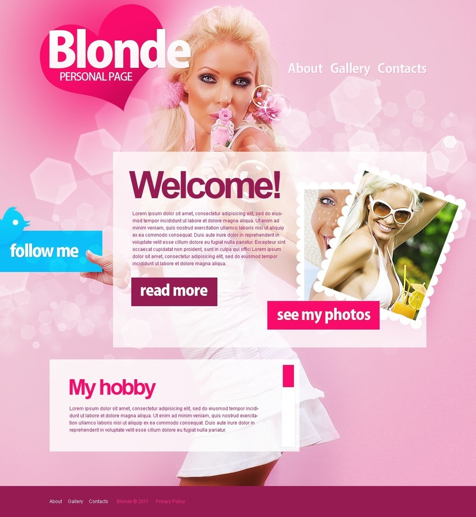Personal Page PSD Template New Screenshots BIG