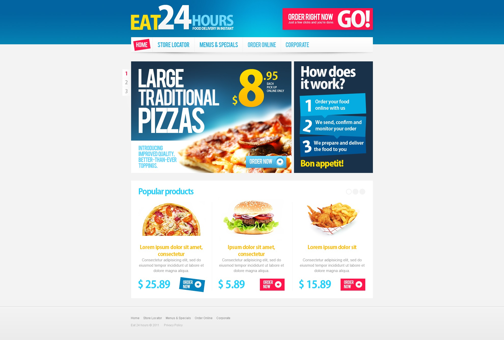 Pizza PSD Template