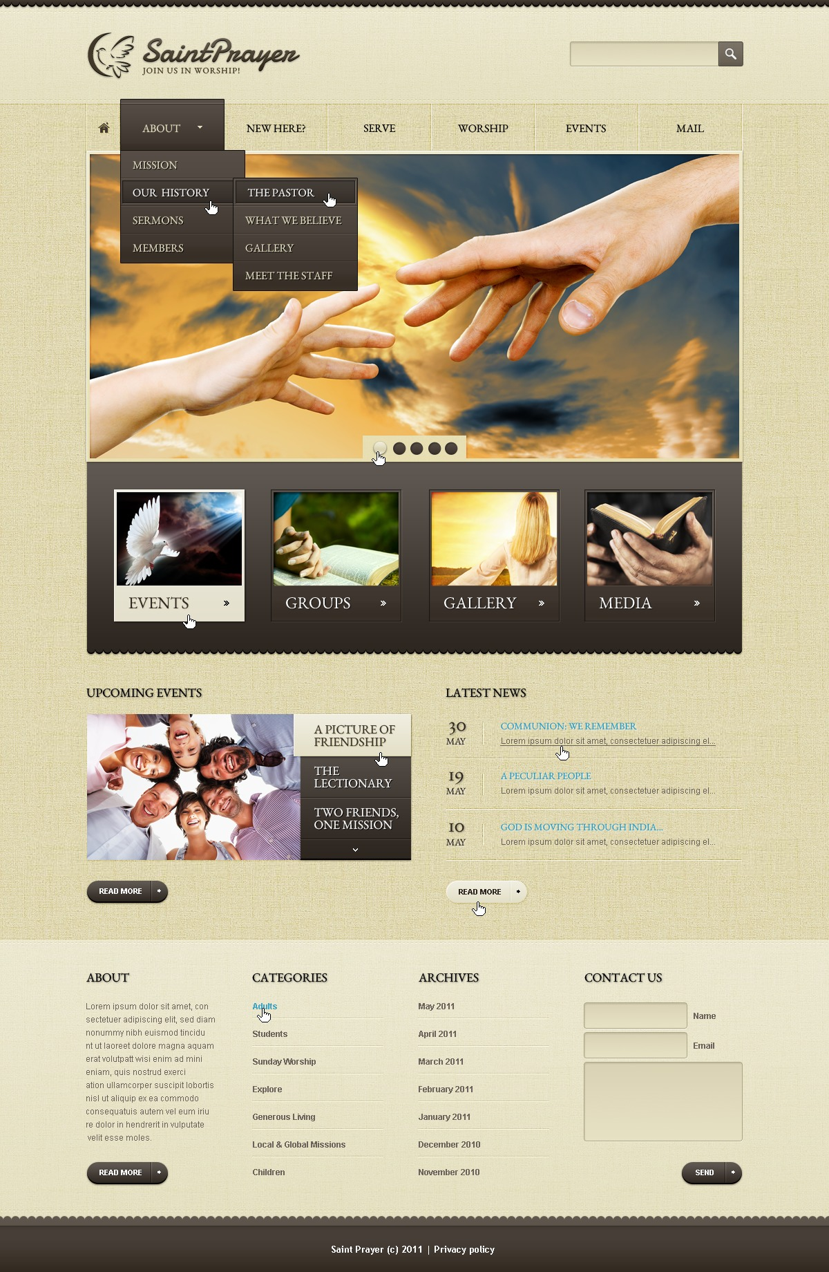 Religious PSD Template - Church web templates