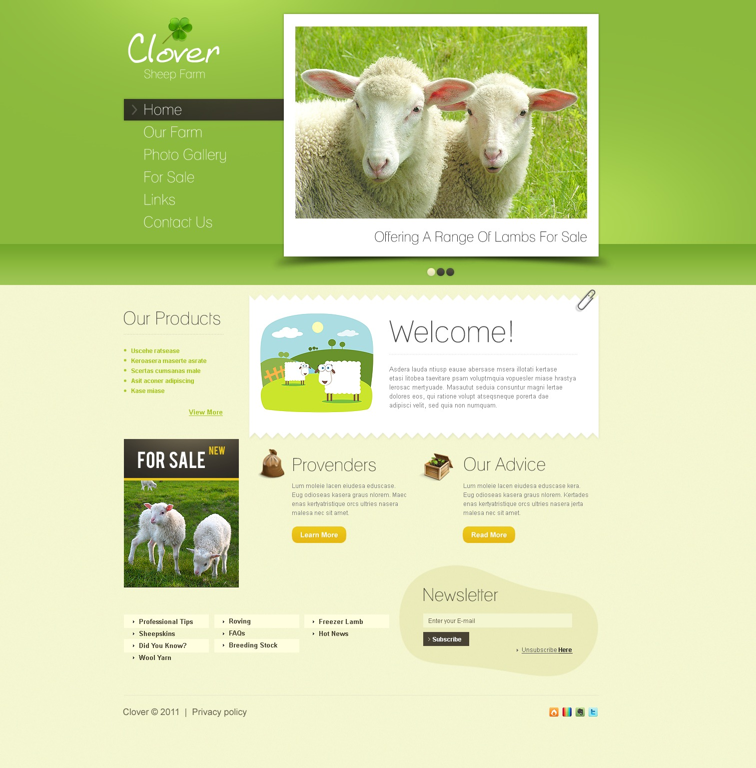 Sheep Farm PSD Template