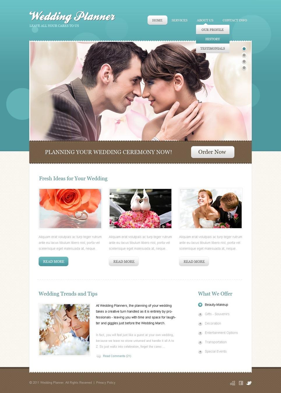 Wedding Planner PSD Template New Screenshots BIG