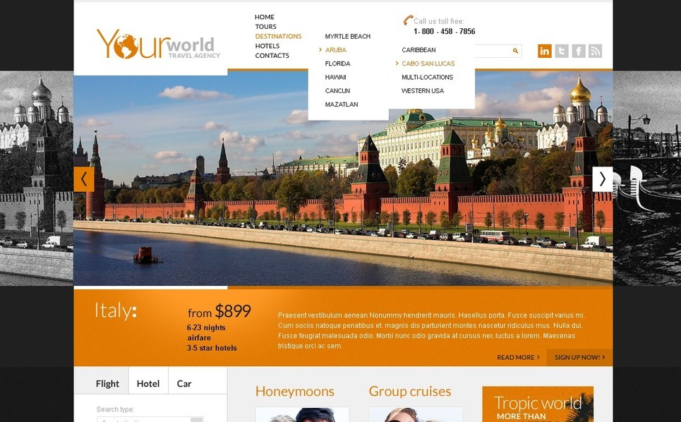 Szablon PSD #57142 na temat: biuro podróży i turystyki New Screenshots BIG